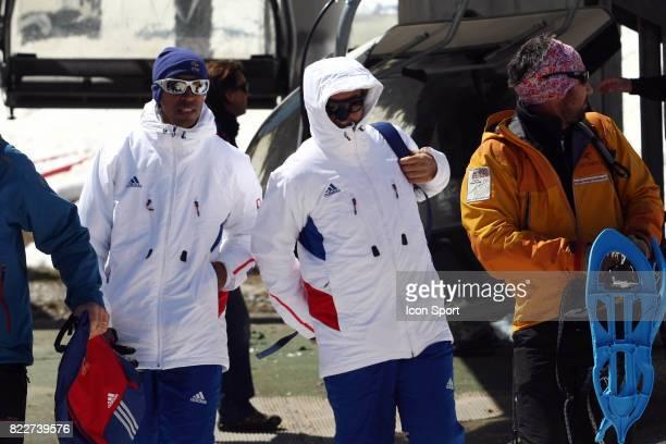 Stephane DIAGANA / Raymond DOMENECH Retour du Glacier Stage de l'Equipe de France avant la Coupe du Monde 2010 Tignes France