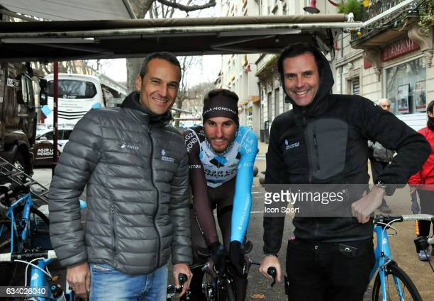 Stephane Goubert and Cyril Dessel Sports directors with Quentin Jauregui of Ag2r La Mondiale during the stage 5 of the Etoile of Besseges from Ales...
