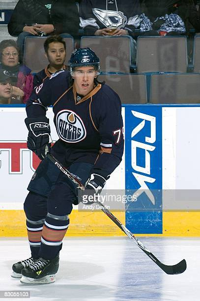 Stephane Goulet of the Edmonton Oilers warms up before a preseason game against the Florida Panthers on September 25 2008 at Rexall Place in Edmonton...