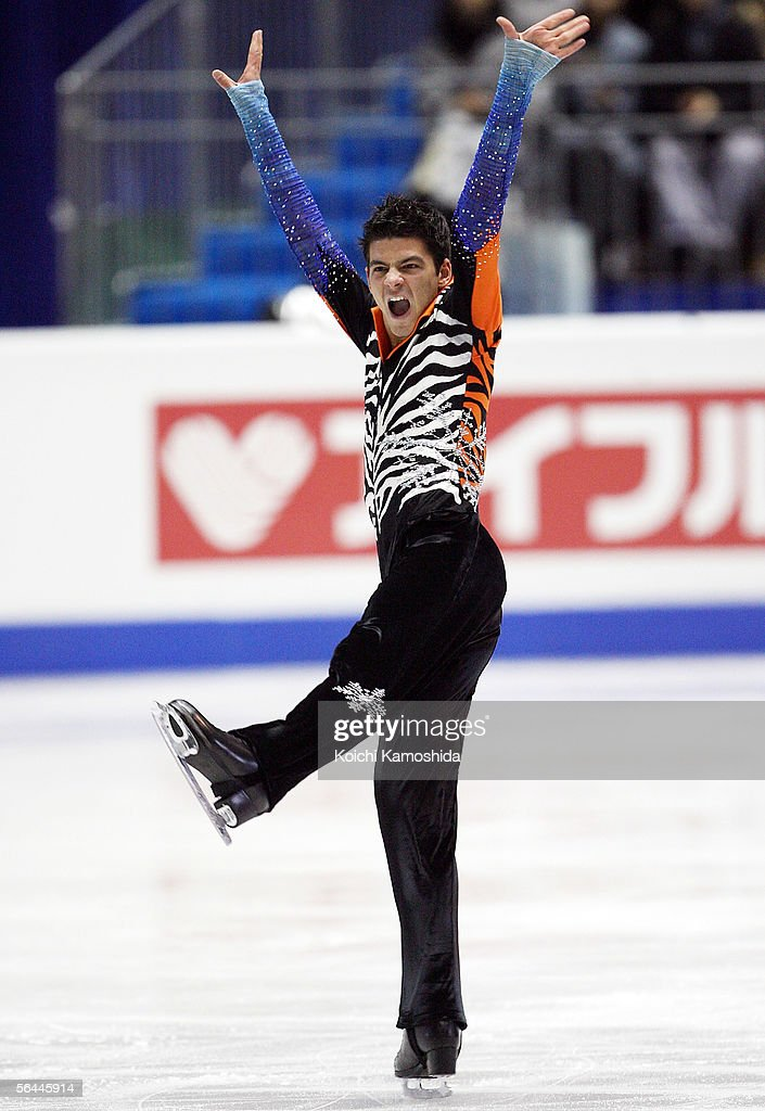 Stephane Lambiel of Switzerland waves to the audience as he hears the results during the Grand Prix of Figure Skating Final 2005/2006, Men Free Skating at Yoyogi National Gymnasium on December 17, 2005 in Tokyo, Japan.