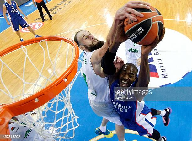 Stephane Lasme #13 of Anadolu Efes Istanbul in action during the 20142015 Turkish Airlines Euroleague Basketball Regular Season Date 1 between...
