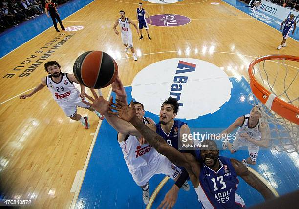 Stephane Lasme #13 of Anadolu Efes Istanbul in action during the 20142015 Turkish Airlines Euroleague Basketball Play Off Game 4 between Anadolu Efes...