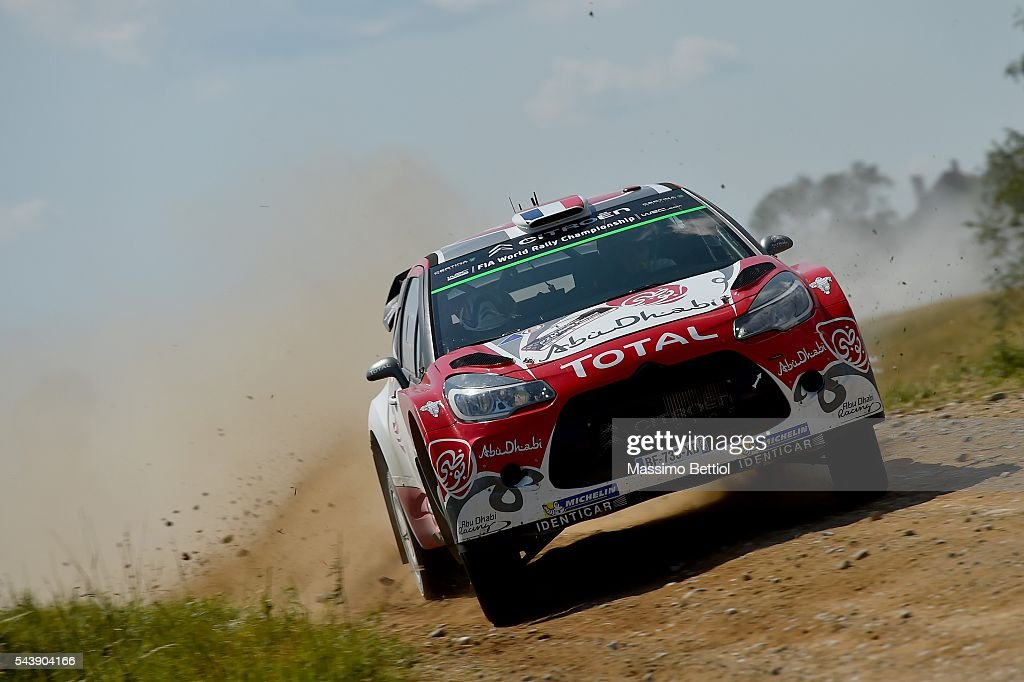 Stephane Lefebvre of France and Gabin Moreau of France compete in their Abu Dhabi Total WRT Citroen DS3 WRC during the Shakedown of the WRC Poland on June 30, 2016 in Mikolajki, Poland.