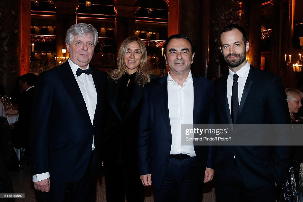 Stephane Lissner, Carole Ghosn, <a gi-track='captionPersonalityLinkClicked' href=/galleries/search?phrase=Carlos+Ghosn&family=editorial&specificpeople=215025 ng-click='$event.stopPropagation()'>Carlos Ghosn</a> and <a gi-track='captionPersonalityLinkClicked' href=/galleries/search?phrase=Benjamin+Millepied&family=editorial&specificpeople=6539957 ng-click='$event.stopPropagation()'>Benjamin Millepied</a>s attend the Arop Charity Gala At the Opera Garnier under the auspices of Madam Maryvonne Pinault on March 9, 2016 in Paris, France.