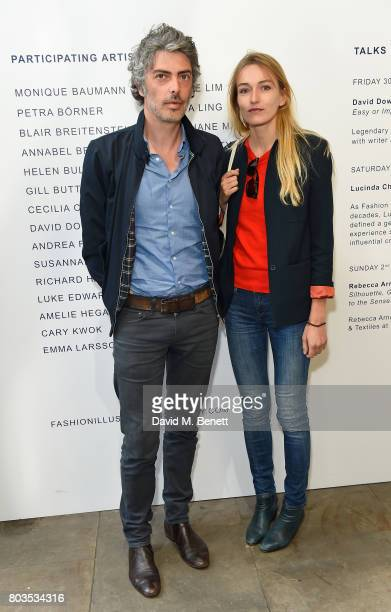 Stephane Manel and artist Annabel Briens attend the Fashion Illustration Gallery Art Fair private view at The Shop at Bluebird cohosted b Lucinda...