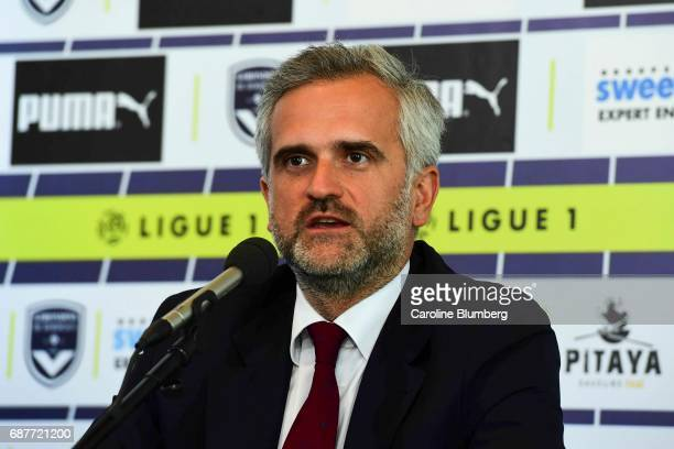 Stephane Martin president of Bordeaux during press conference of new signing player Benoit Costil on May 24 2017 in Bordeaux France