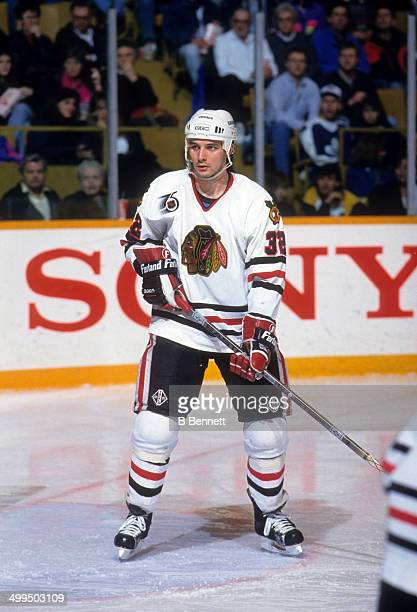 Stephane Matteau of the Chicago Blackhawks skates on the ice during an NHL game against the Toronto Maple Leafs on March 21 1992 at the Maple Leaf...