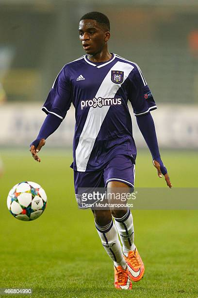 Stephane Omeonga of Anderlecht in action during the UEFA Youth League quarter final match between RSC Anderlecht and FC Porto at Constant Vanden...