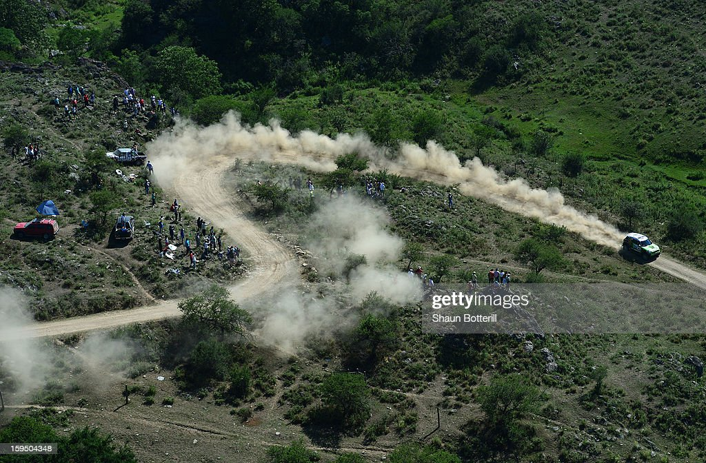Stephane Peterhansel and codriver Jean Paul Cottret of team Mini compete in stage 9 from Tucuman to Cordoba during the 2013 Dakar Rally on January 14...