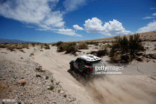 Stephane Peterhansel and Jean Paul Cottret of France for Mini Monster Energy XRaid Team competes in the Dakar Rally during Day 5 of the 2014 Dakar...