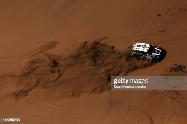 Stephane Peterhansel and Jean Paul Cottret of France for Mini Monster Energy XRaid Team compete in stage 12 on the way to La Serena during Day 13 of...