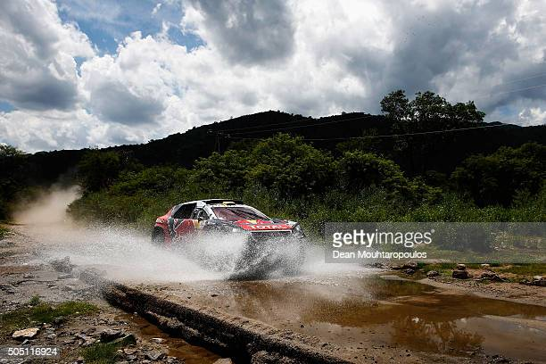 Stephane Peterhansel of France and Paul Jean Cottret of France in the PEUGEOT 2008 DKR for TEAM PEUGEOT TOTAL SOUTH AFRICA compete on day 13 / stage...