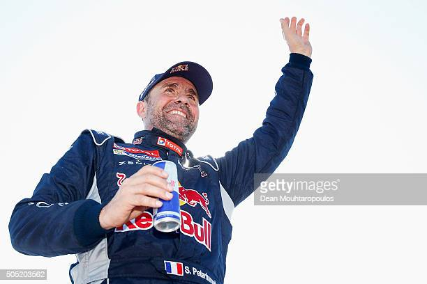 Stephane Peterhansel of France in the PEUGEOT 2008 DKR for TEAM PEUGEOT TOTAL SOUTH AFRICA celebrates winning the overall race as he arrives at the...