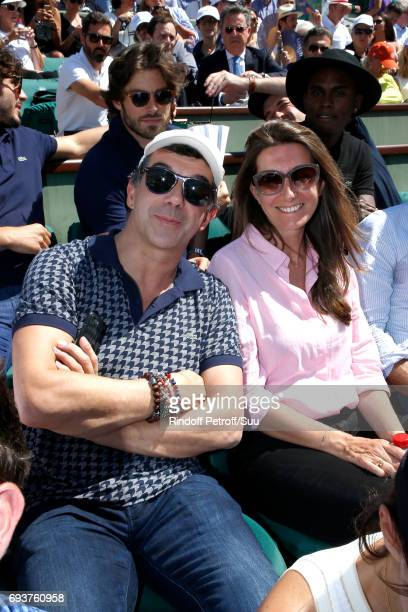 Stephane Plaza and AnneClaire Coudray attend the 2017 French Tennis Open Day Twelve at Roland Garros on June 8 2017 in Paris France