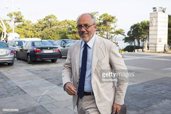 Stephane Richard chief executive officer of Orange SA arrives for the 30th Telecommunications and Digital Economy conference in Santander Spain on...