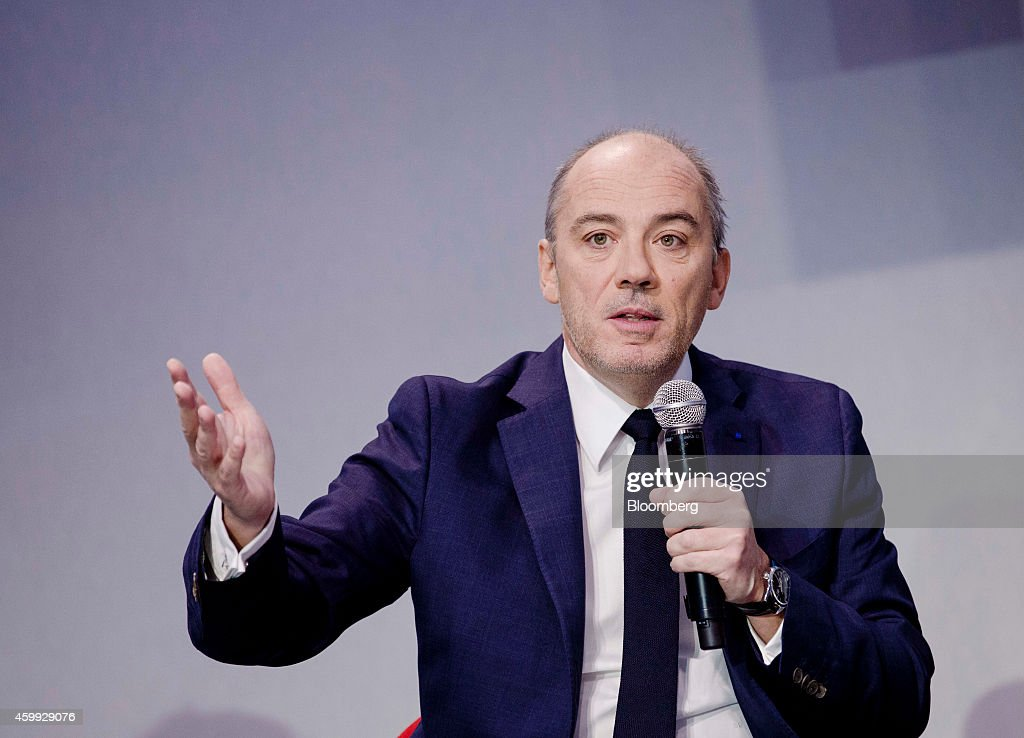 Stephane Richard chief executive officer of Orange SA gestures as he speaks during the 'Osons La France' forum at the Grand Palais museum in Paris...