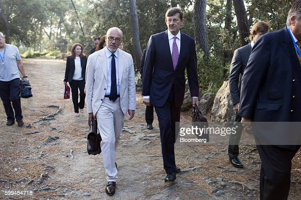 Stephane Richard chief executive officer of Orange SA left and Vittorio Colao chief executive officer of Vodafone Group Plc arrive for the 30th...