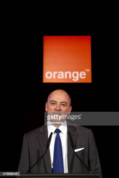 Stephane Richard chief executive officer of Orange SA reacts during a news conference to announce the company's earnings in Paris France on Thursday...