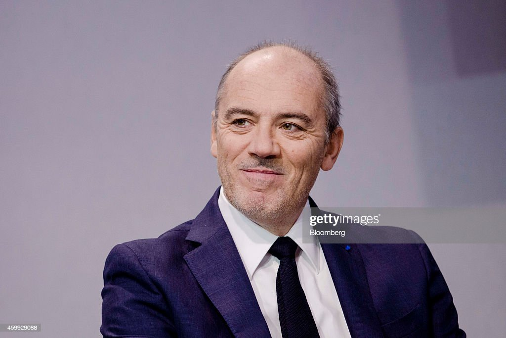 Stephane Richard chief executive officer of Orange SA reacts during the 'Osons La France' forum at the Grand Palais museum in Paris France on...