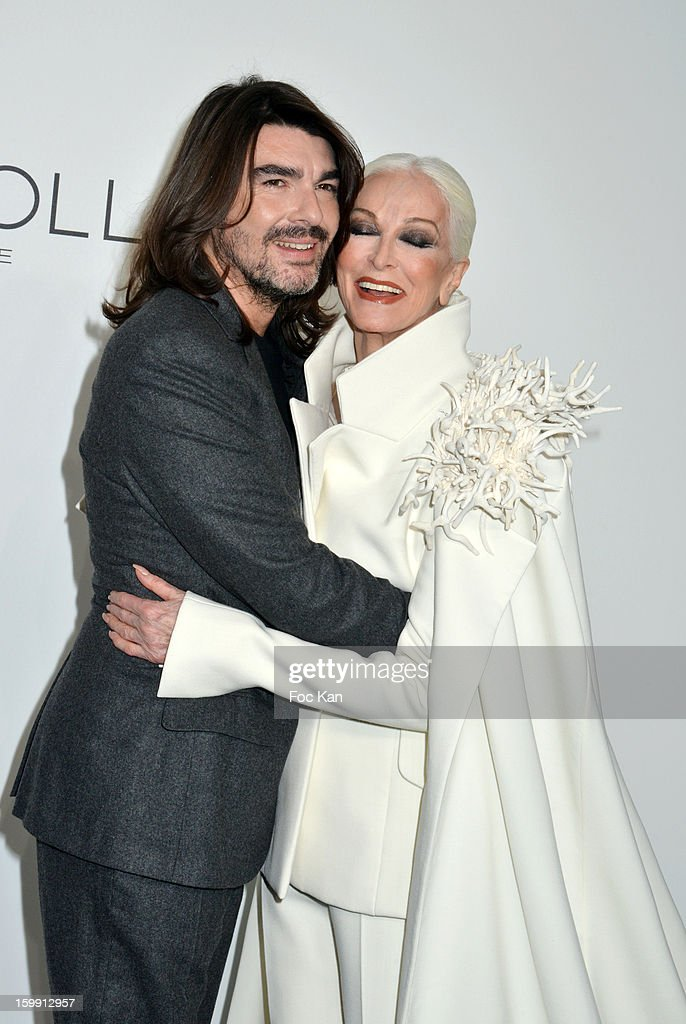 Stephane Rolland and <a gi-track='captionPersonalityLinkClicked' href=/galleries/search?phrase=Carmen+Dell%27Orefice&family=editorial&specificpeople=664172 ng-click='$event.stopPropagation()'>Carmen Dell'Orefice</a> attend the Stephane Rolland Spring/Summer 2013 Haute-Couture show as part of Paris Fashion Week at Palais De Tokyo on January 22, 2013 in Paris, France.