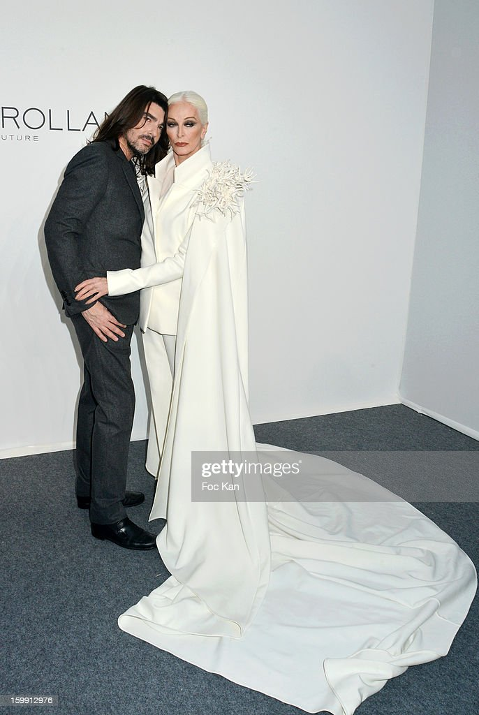 Stephane Rolland and Carmen Dell'Orefice attend the Stephane Rolland Spring/Summer 2013 Haute-Couture show as part of Paris Fashion Week at Palais De Tokyo on January 22, 2013 in Paris, France.