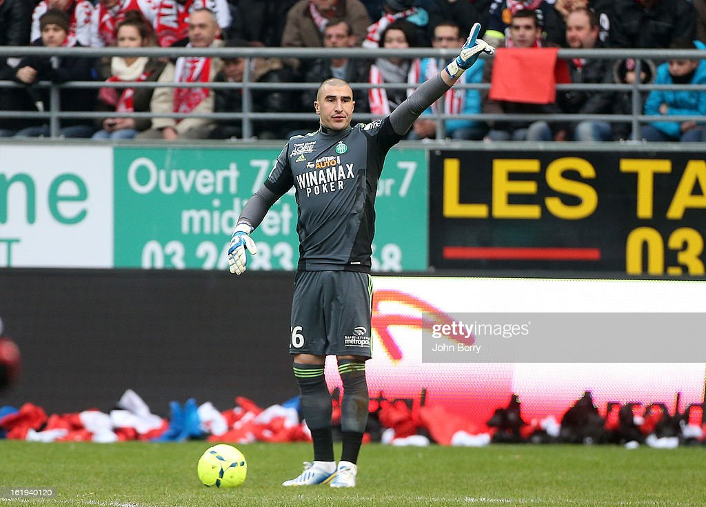 <a gi-track='captionPersonalityLinkClicked' href=/galleries/search?phrase=Stephane+Ruffier&family=editorial&specificpeople=4978820 ng-click='$event.stopPropagation()'>Stephane Ruffier</a>, goalkeeper of ASSE in action during the french Ligue 1 match between Stade de Reims and AS Saint-Etienne at the Stade Auguste Delaune on February 17, 2013 in Reims, France.