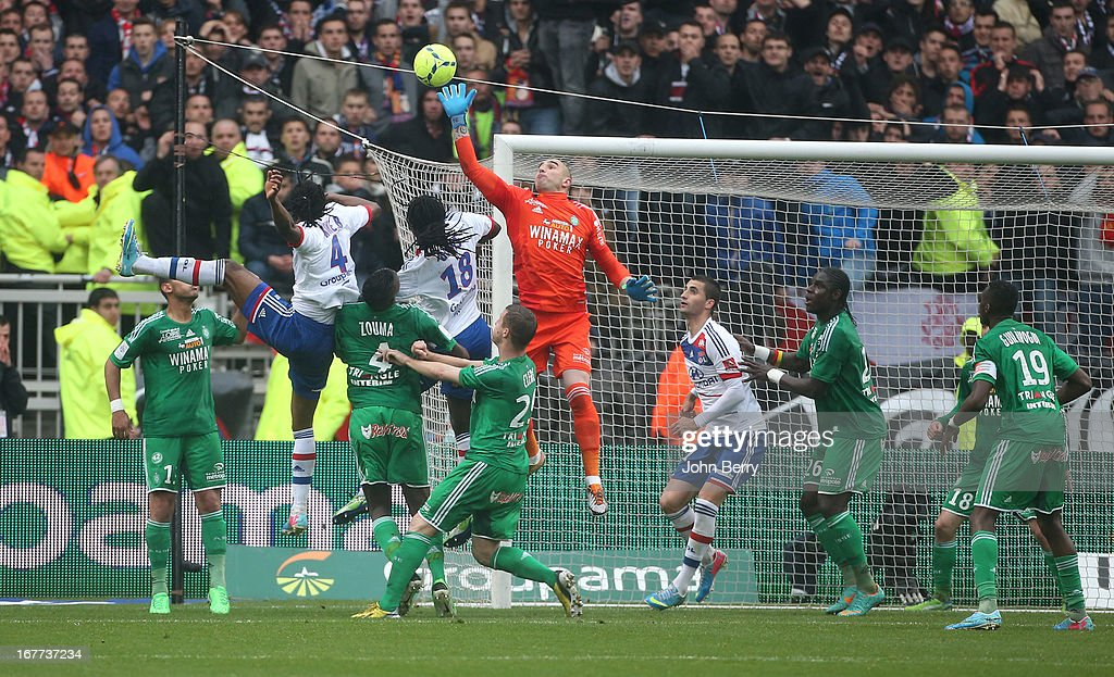 Stephane Ruffier, goalkeeper of Saint-Etienne saves his team during the Ligue 1 match between Olympique Lyonnais, OL, and AS Saint-Etienne, ASSE, at the Stade Gerland on April 28, 2013 in Lyon, France.