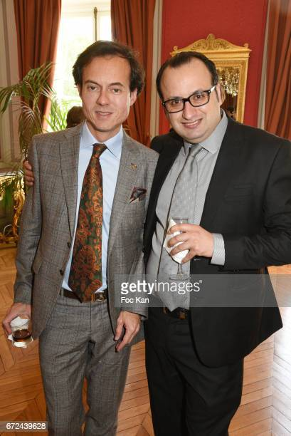 PR Stephane Ruffier Meray and Fashion designer Georges Bedran attend Opera Singer Fabrice Rosalie Di Falco Receives the Chevalier de L'Ordre National...