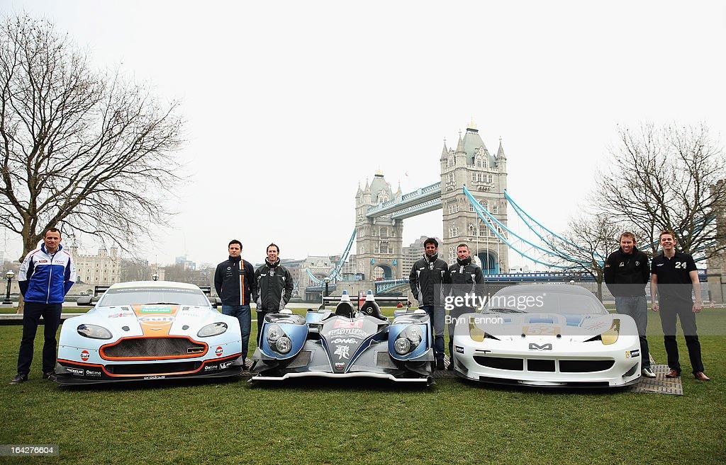 Stephane Sarrazin Darren Turner Jonny Kane Nick Leventis Danny Watts John Martin and Alex Brundle pose in fron to of Tower Bridge during the 2013 FIA...