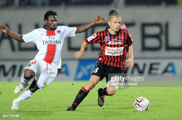 Stephane SESSEGNON / David HELLEBUYCK 01 112008 Nice / PSG 12eme journee de Ligue 1