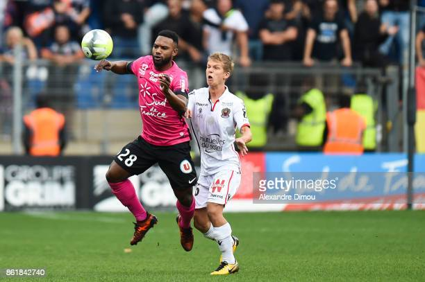 Stephane Sessegnon of Montpellier and Vincent Koziello of Nice during the Ligue 1 match between Montpellier Herault SC and OGC Nice at Stade de la...