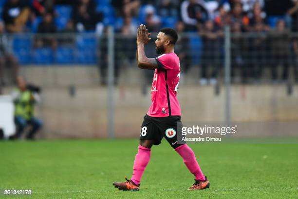 Stephane Sessegnon of Montpellier during the Ligue 1 match between Montpellier Herault SC and OGC Nice at Stade de la Mosson on October 14 2017 in...
