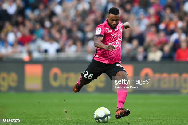 Stephane Sessegnon of Montpellier score his goal during the Ligue 1 match between Montpellier Herault SC and OGC Nice at Stade de la Mosson on...