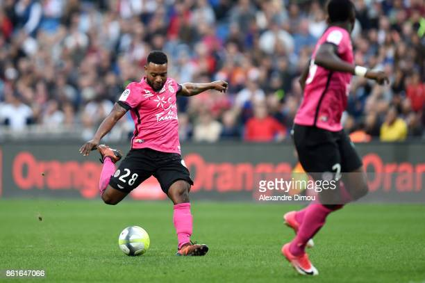 Stephane Sessegnon of Montpellier scores first goal during the Ligue 1 match between Montpellier Herault SC and OGC Nice at Stade de la Mosson on...