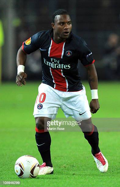 Stephane Sessegnon of Paris runs with the ball during the UEFA Champions League Group J match between Borussia Dortmund and Paris Saint Germain at...