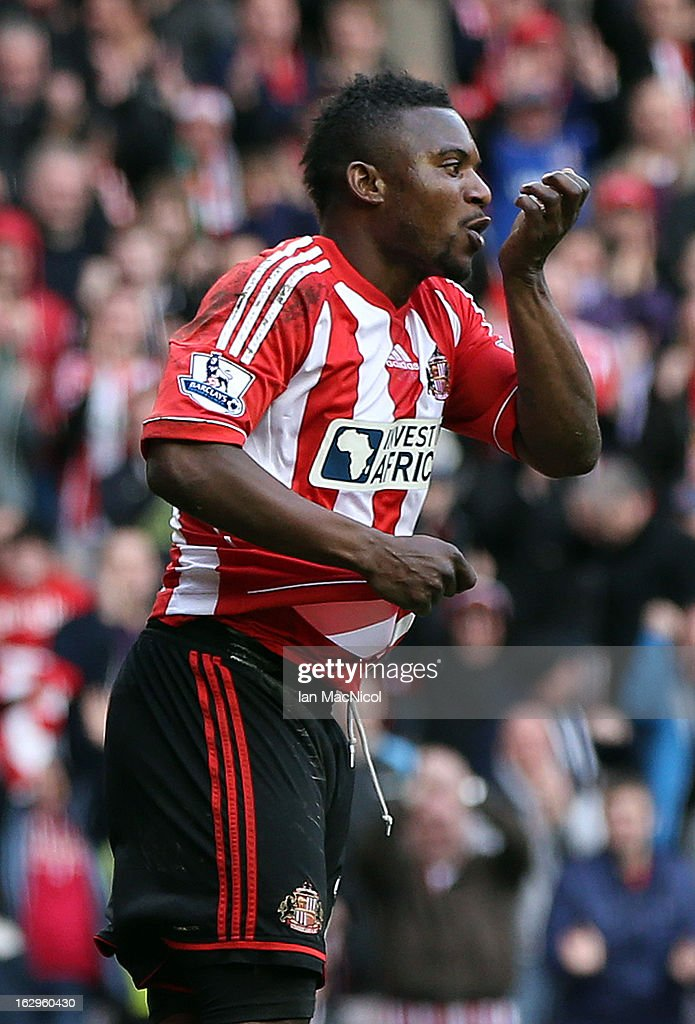 Stephane Sessegnon of Sunderland celebrates after scoring during the Barclays Premier League match between Sunderland and Fulham at the Stadium of Light on March 02, 2013 in Sunderland, England.