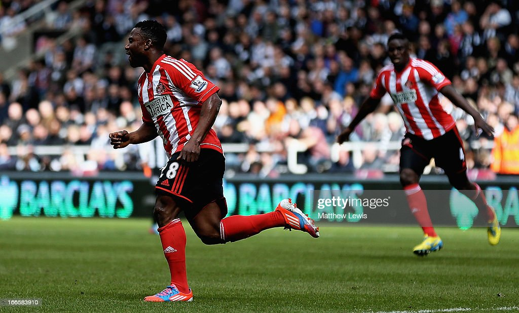 Stephane Sessegnon of Sunderland celebrates his goal during the Barclays Premier League match between Newcastle United and Sunderland at St James' Park on April 14, 2013 in Newcastle upon Tyne, England.