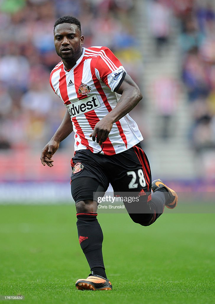 Stephane Sessegnon of Sunderland in action during the Barclays Premier League match between Sunderland and Fulham at the Stadium of Light on August 17, 2013 in Sunderland, England.