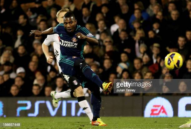 Stephane Sessegnon of Sunderland scores his team's third goal during the Barclays Premier League match between Fulham FC and Sunderland AFC at Craven...