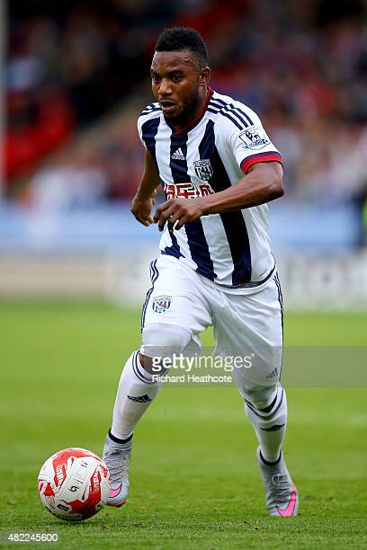 Stephane Sessegnon of West Brom in action during the PreSeason Friendly between Walsall and West Bromwich Albion at Banks' Stadium on July 28 2015 in...