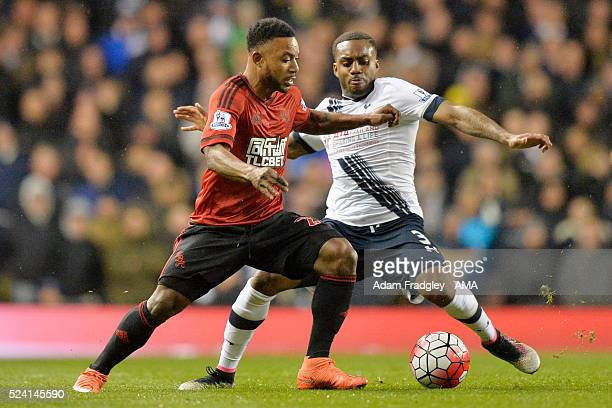 Stephane Sessegnon of West Bromwich Albion and Danny Rose of Tottenham Hotspur compete during the Barclays Premier League match between Tottenham...