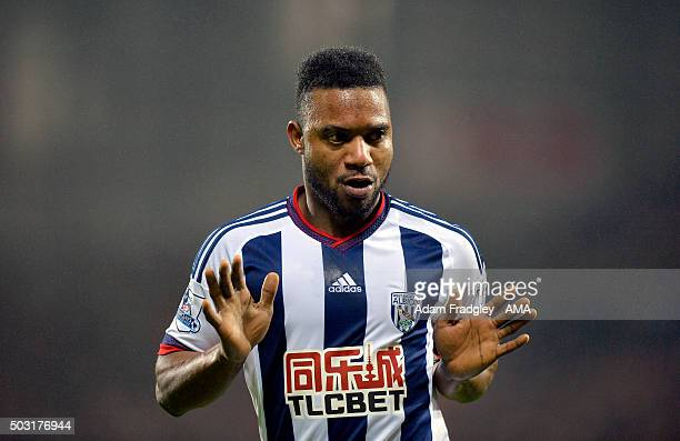 Stephane Sessegnon of West Bromwich Albion celebrates after scoring a goal to make it 10 during the Barclays Premier League match between West...