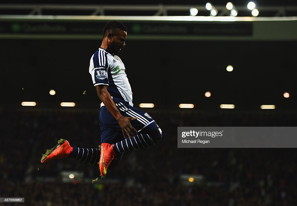 Stephane Sessegnon of West Bromwich Albion celebrates as he scores their first goal during the Barclays Premier League match between West Bromwich Albion and Manchester United at The Hawthorns on October 20, 2014 in West Bromwich, England.