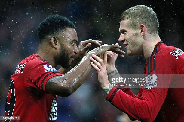Stephane Sessegnon of West Bromwich Albion celebrates scoring a goal to make the score 10 with teammate James McClean during the Barclays Premier...