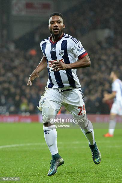 Stephane Sessegnon of West Bromwich Albion celebrates scoring his team's first goal during the Barclays Premier League match between West Bromwich...