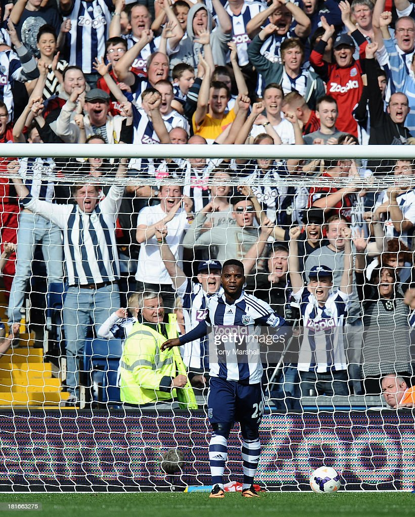 Stephane Sessegnon of West Bromwich Albion celebrates scoring their first goal during the Barclays Premier League match between West Bromwich Albion and Sunderland at The Hawthorns on September 21, 2013 in West Bromwich, England.