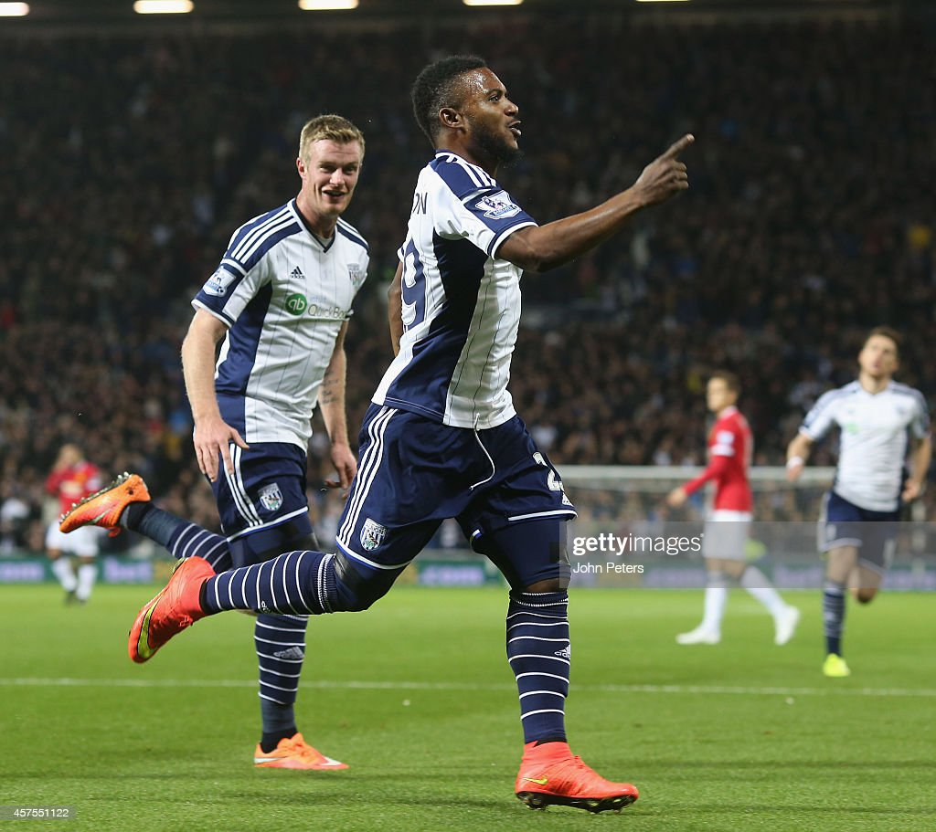 Stephane Sessegnon of West Bromwich Albion celebrates scoring their first goal during the Barclays Premier League match between West Bromwich Albion and Manchester United at The Hawthorns on October 20, 2014 in West Bromwich, England.