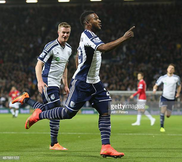 Stephane Sessegnon of West Bromwich Albion celebrates scoring their first goal during the Barclays Premier League match between West Bromwich Albion...