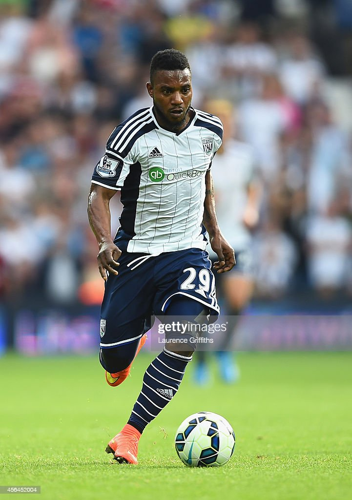 Stephane Sessegnon of West Bromwich Albion in action during the Barclays Premier League match between West Bromwich Albion and Burnley at The Hawthorns on September 28, 2014 in West Bromwich, England.
