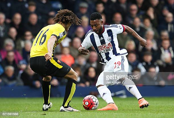 Stephane Sessegnon of West Bromwich Albion is closed down by Nathan Ake of Watford during the Barclays Premier League match between West Bromwich...